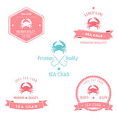 Vintage Sea Crab Badge set — Stok Vektör