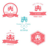 Vintage Octopus Badge set — Stock Vector