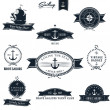 Vintage Retro Nautical Badge set - Stok Vektr
