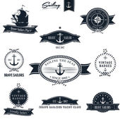 Vintage retro nautiska badge set — Stockvektor