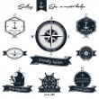 Vintage Nautical Badge set - Stock Vector