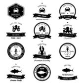 Vintage havslevande djur badge set — Stockvektor