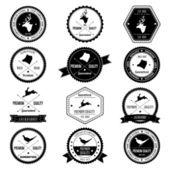 Vintage dierlijke wild collectie badge set — Stockvector