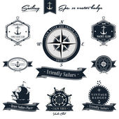 Vintage nautiska badge set — Stockvektor