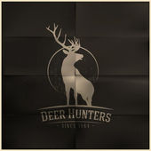 Deer buck on fool moon badge — Vetor de Stock