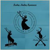 Distintivi di caccia di cervi — Vettoriale Stock