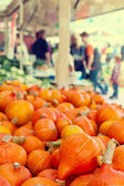 Orange pumkins at the market — Stock Photo