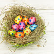 Nest full of colorful Easter Eggs - Foto Stock