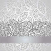 Luxury silver leaves lace border and background — Stock Vector