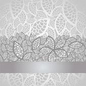 Lyx silver lämnar spetsar kantlinje och bakgrund — Stockvektor