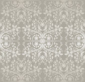 Seamless silver lace flowers and leaves wallpaper — Stock Vector