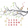 Love birds on a tree branch with live laugh love — Stock Vector #17649891