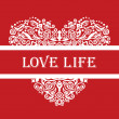Love life white detailed heart ornament on red — Vettoriali Stock