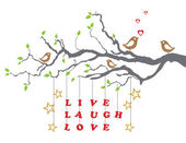 Love birds on a tree branch with live laugh love — Stock Vector