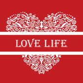 Love life white detailed heart ornament on red — Stock Vector