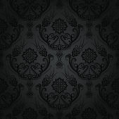 Luxury seamless black floral damask wallpaper pattern — Stock Vector