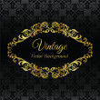 Golden vintage frame on black seamless wallpaper pattern — Stock Vector