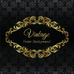 Golden vintage frame on black seamless wallpaper pattern — Stock Vector