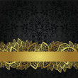 Seamless black wallpaper and golden lace banner — Stock Vector #18535677
