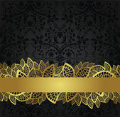 Seamless black wallpaper and golden lace banner — Stock Vector