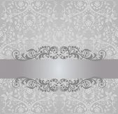 Seamless silver foliage wallpaper and vintage banner — Stock Vector