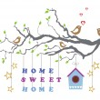 Stock Vector: Home sweet home moving-in new house greeting card