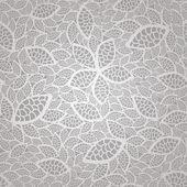 シームレスな銀ヴィンテージレースの葉の壁紙パターン — ストックベクタ