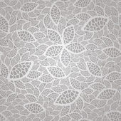 Cordón del plata vintage inconsútil deja patrón de papel tapiz — Vector de stock
