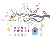 Home sweet home moving-in new house greeting card — Stock Vector
