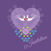 Purple invitation with two love birds and heart — Stock Vector