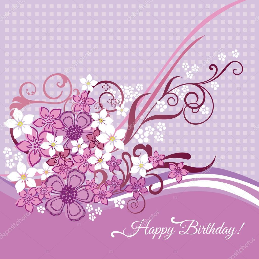 Tarjeta del feliz cumpleaños con flores de color rosas y blancas u2014 Vector de stock u00a9 lin