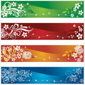 Four seasonal banners with flowers and snowflakes design — Stock Vector