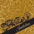 Luxury black and gold invitation card with swirls — ストックベクタ