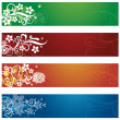 Set of four seasonal flowers and snowflakes banners — Stock Vector #24298025