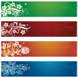 Set of four seasonal flowers and snowflakes banners — Stock Vector
