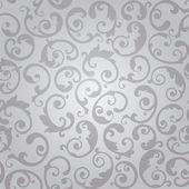 Seamless silver swirls floral wallpaper pattern — Stock Vector