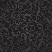 Seamless black and grey swirls floral wallpaper — Stock Vector