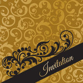 Luxury black and gold invitation card with swirls — Stock Vector