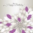 Happy Birthday card with pink flowers and leaves — Stock Vector