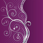 Beautiful fuchsia and silver swirls border — Vetor de Stock