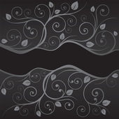 Luxury black and silver leaves and swirls borders — Stock Vector