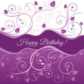 Happy Birthday card with pink and purple swirls — Stock Vector
