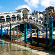 The Rialto bridge with blue sky , Venice, Italy — Stock Photo