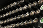 Close-up of a keyboard from a vintage russian typewriter — Stock Photo