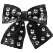 Black leather ribbon bow — Zdjęcie stockowe