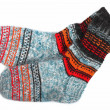 Colorful wool socks isolated on white — Stock fotografie