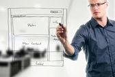 Website ontwikkeling draadframe — Stockfoto