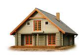 Casa de madeira, isolada no branco — Foto Stock