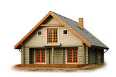 Casa de madera aislado en blanco — Foto de Stock