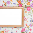 Wood frame on vintage floral background — Stock Photo